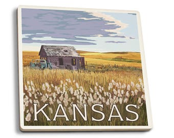 Kansas - Wheat Fields & Homestead - LP Artwork (Set of 4 Ceramic Coasters)