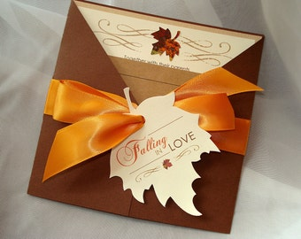 Falling in Love Invite, Fall Wedding Invitation, Autumn Wedding Invitation, Leaf Invitation, Rustic Wedding Invite, Wedding Invitation Set