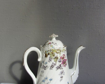 RESERVED**Decorative French Porcelain TEAPOT ~ Antique Teapot ~ Vintage Floral Teapot ~ Gold trim Tea pot ~ Coffee pot