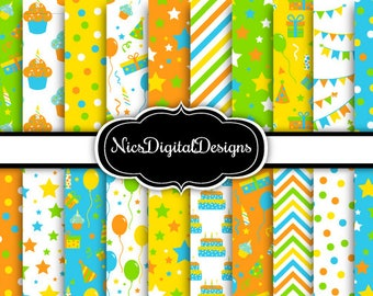 20 Digital Papers. Birthday Papers in Green Blue Yellow Orange 2 (2F no 7) for Personal Use and Small Commercial Use Scrapbooking