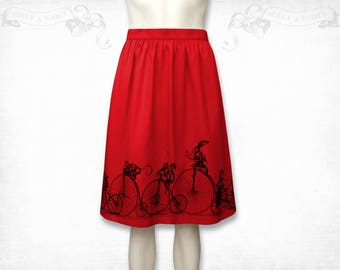 Penny Farthing Cotton Skirt -Grey, red or blue