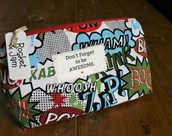 Bespoke / Handmade large Superhero Cosmetics / makeup bag / Awesome slogan <retro >