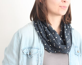 Infinity Scarf - Organic Cotton Jersey  - Navy + Gray, Silver Triangle Pattern