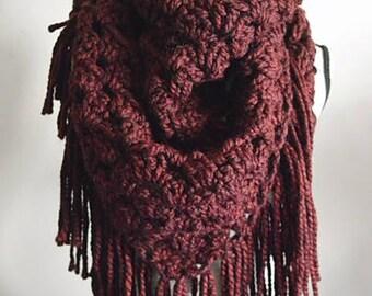Granny Stitch Crochet Shawl/ Crochet Shawl/Bandana Scarf/Chunky Triangle Knit Scarf /Knit Shawl /Over sized Knit Scar / Fringe Shawl /