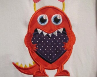 Valentine monster applique t shirt