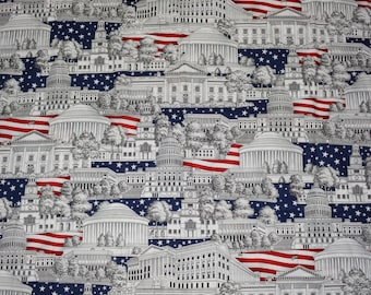 Novelty July 4th fabric USA patriotic red white blue flag Republican fabric Democrat fabric 4th of July scenic Washington DC architectural
