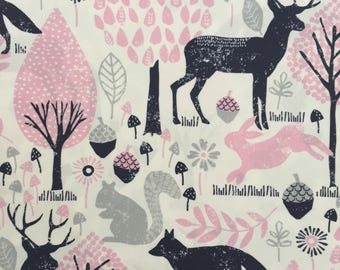 custom baby burp cloth ~ pink/navy woodland animals ~ premium 6 ply cloth diaper burp cloth ~ baby accessories ~ from lillybelle designs