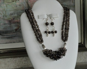 Smokey Quartz multi-strand beaded necklace  -  39
