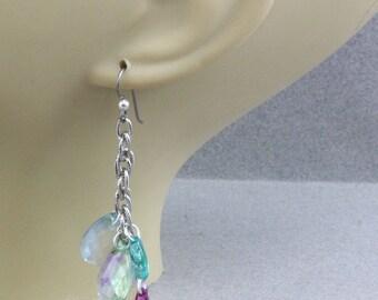 Handmade Earrings Boho Free Spirit  Earrings Lightweight Designer Acrylic Teardrops on Silver Niobium French Hooks Oscarcrow