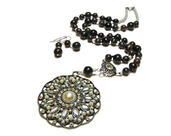 Reclaimed Treasures--Garnet & Glass Pearl Bead Necklace and Earrings By SoniaMcD