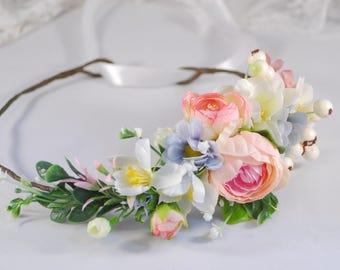 Pink blue floral crown  Bridal flower crown Purple flower Flower headband Headband Wedding flower crown Flower halo Floral head wreath boho