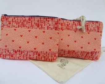 Quilted Zipper Pouch Set Purple Hearts