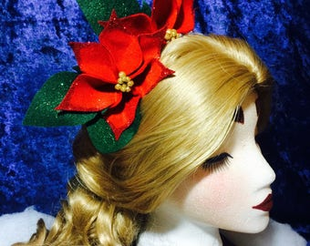 Red Poinsettia Holiday Crown