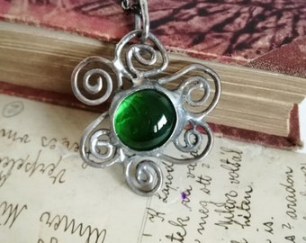 Artistic pendant waves with green glass cabochon, RUSTIC Boho Necklace, Unique Long necklace. Bustani