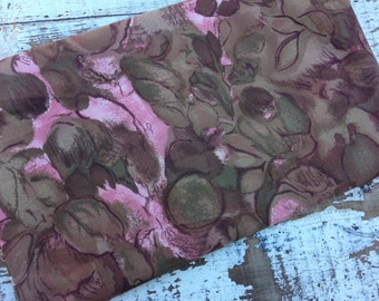 Vintage Floral Fabric- Brown and Pink