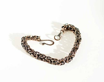 """Byzantine Chainmaille Bracelet Antiqued Copper Rings Byzantine Style - 7 1/2"""" Chain Maille Mail Copper Bracelet"""