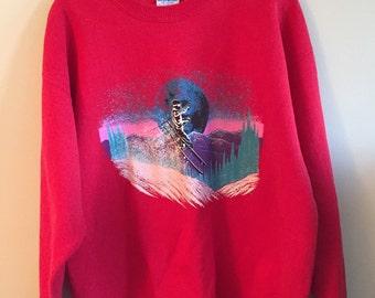Vintage Gildan Ski Graphic Sweater.