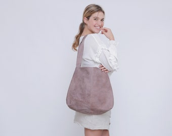 Soft Leather Bag, Oversized Leather Tote, Woman Bag, Distressed Mauve Leather Tote Bag with Magnetic closer, Leather Shoulder bag -Tami bag