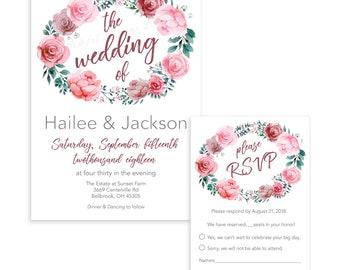 Dusty Rose, Blush Wedding Invitation & RSVP; Digital Available