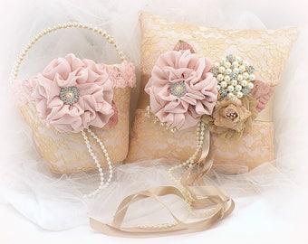 Flower Girl Basket,Ring Bearer Pillow,Rose Gold,Blush,Tan,Gold,Wedding Basket,Vintage Style,Elegant Wedding,Lace Basket,Lace Ring Pillow