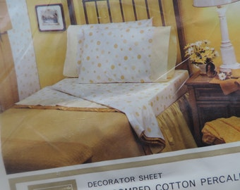 yellow polka dot vintage sheets Sears flat sheet novelty print percale full dotted shabby cottage linens new old stock
