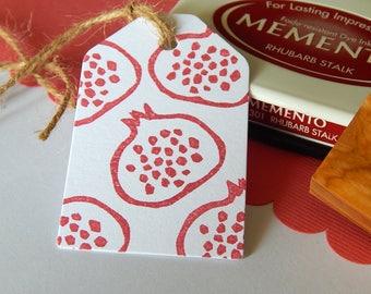 Bejeweled Pomegranate Outline Olive Wood Stamp