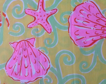 "shells and crabs poplin cotton fabric square 18""x18"" ~ lilly pulitzer"