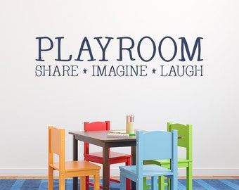 Playroom Decal - Share Imagine Laugh - Kids Wall Decal - Playroom Decor - Children Wall Art