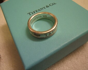TIFFANY & Co. sterling silver mens size 10  ring 1837 concave WITH BOX