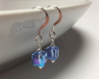 Sterling Silver and Blue Cube Swarovski Crystal Earrings