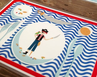 Children's Manners and Table Setting Placemat  - Pirate Boy