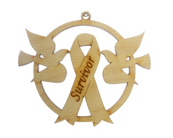 Survivor Ribbon Ornament - Survivor Ribbon Gift - Awareness Ribbon - Cancer Awareness - Cancer Survivor Gift-Cancer Ribbon-Personalized Free