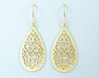 Gold Filigree Earrings, Gold Teardrop Earrings, Ornate Matte Gold Drop Earrings |EB1-17