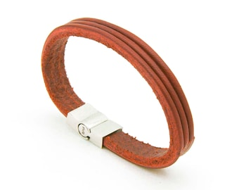 Tan leather bracelet, Brown leather bracelet for men - the TRI Cuff