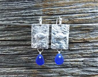 Genuine Beach Sea Glass Earrings - Silver Cobalt Dangles