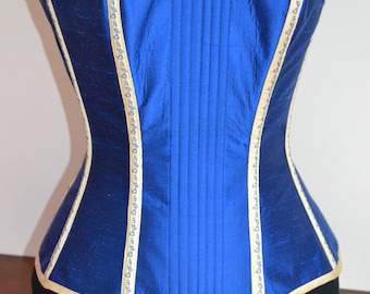 Blue Silk Overbust corset, 26in waist