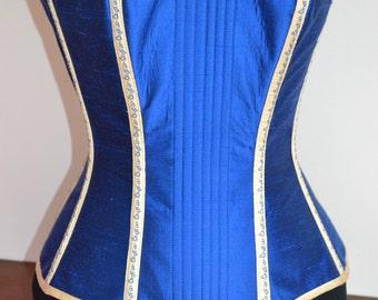 Blue Silk Overbust corset, 26in waist