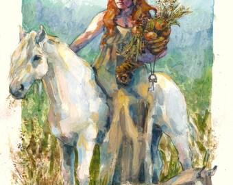 Epona- Goddess illustration print in multiple sizes