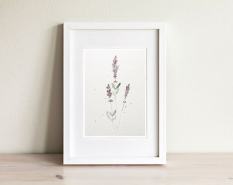Lavender watercolor illustration - handmade