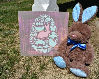 Easter Bunny and Egg Sign