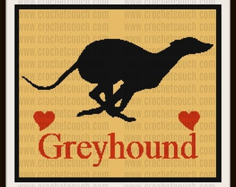 Greyhound Silhouette SC Graph, Word Chart, Greyhound Silhouette Afghan