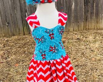 Dr. Seuss dress, cat in the hat dress, thing one, thing 2, girl dresses, Dr. Seuss Birthday