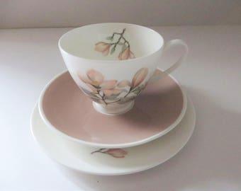 Royal Adderly vintage 1960's pink floral tea trio, Ophelia pattern