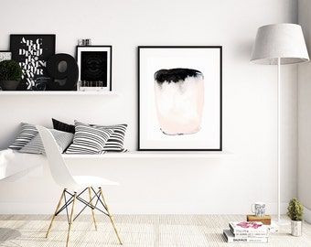 "Abstract Painting ""Vessel I"" by Jules Tillman Fine Art Lustre Print modern abstract watercolor painting white soft pink black minimal"