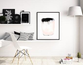 Peinture abstraite «navire je» par Jules Tillman Fine Art Print Lustre peinture aquarelle abstraite moderne blanc doux noir rose minimal