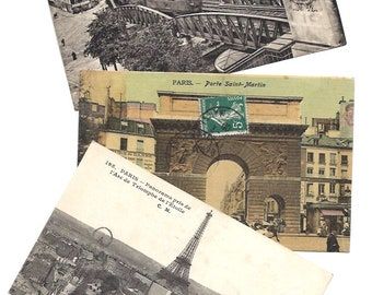 3 PARIS Vintage POSTCARD set - Handwritten post cards from Paris, France - From 1900s to 1930s