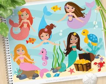 Mermaids Clipart, Cute Mermaid Princess, Under the Sea, sea horse, starfish, jelly fish, Commercial Use, Vector clip art, SVG Cut Files