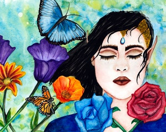 Fantasy Art Print, , Watercolour Art print, Fantasy wall Art, Wall art, Fantasy Illustration, Wiccan Art, Fantasy art, Art print, GLuxArt