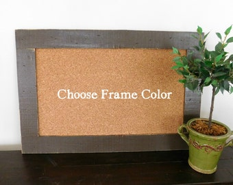 FRAMED CORK BOARD - Bulletin Board - Memo Board - 24 X 36 - Rustic, Industrial Wood - Shown in Dark Chocolate Brown - Many Color Options