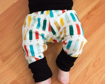 Certified Organic Cotton Adjustable Leggings - Crayon with Black Trim / Baby / Toddler Roll Leg and Waist / Rompers
